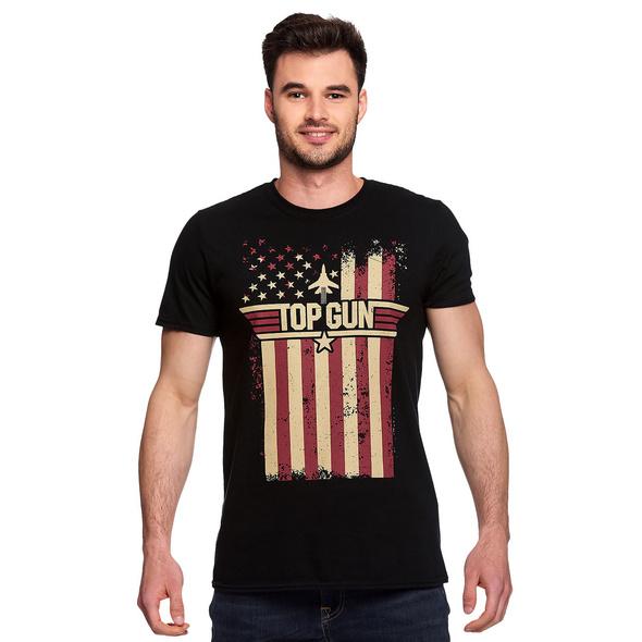 Top Gun - Distressed Flag T-Shirt schwarz