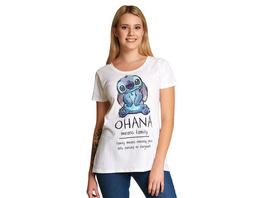 Lilo & Stitch - Ohana Means Family T-Shirt Damen weiß